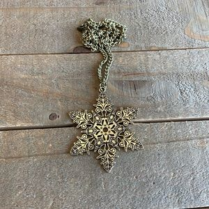 Handmade Gold Snowflake Necklace